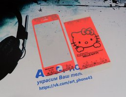 Декоративное стекло на Apple iPhone 5/5С/5S/SE (2 in 1) Hello Kitty